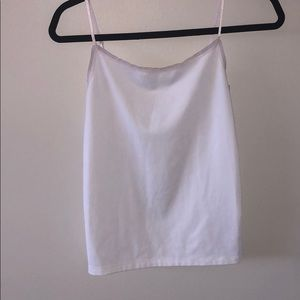 Ann Taylor white tank with sheer edging